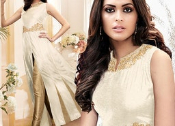 Comely Off White Front Buttons With Slit Silk Latest Fashion Suit By Designersandyou