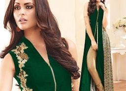 Smashing Green Sleeveless Aline Style Georgette Designer Dress By Designersandyou