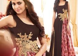 Divine Brown Front Zip Style Georgette Designer Salwar Suit By Designersandyou