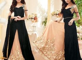 Aesthetic Black Asymmetrical Georgette Indo Western Salwar Kameez By Designersandyou