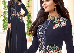 Exquisite Blue Floral Work Georgette Designer Salwar Kameez By Designersandyou