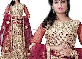 Enchanting Red Heavy Worked Silk Lahenga For Bride By Designersandyou