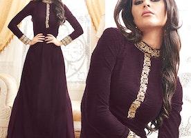 Striking Purple Georgette Designer Ethnic Wear Suit By Designersandyou