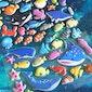 blue fish sticker cute deep blue sea fish dolphin whale ocean sea fish world cartoon fish underwater fish sea world decor puffy sticker