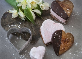 Heart Shaped S'mores with Homemade Pink Marshmallows