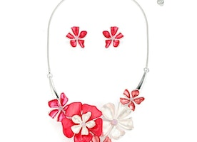 Flower Blossomy Necklace Set - Red