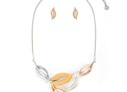 Delicate Leaves Necklace Set - Peach