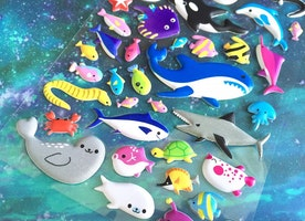 sea seal shark whale sticker ocean world deep sea fish puffy sticker blue whale rare fish cartoon fish world tropical fish underwater decor
