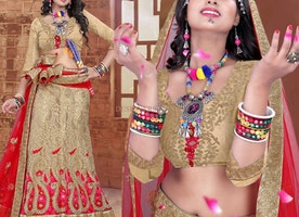 Pleasing Cream Brocade Lahenga For Engagement By Designersandyou