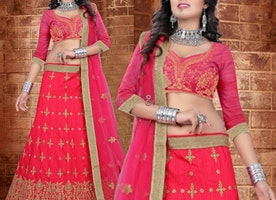 Lovely Pink Silk Wedding Ghaghra Choli By Designersandyou