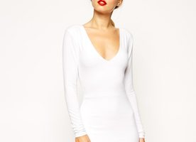 This ASOS Plunge Asymmetric Mini Body-Conscious Dress Is White-Hot
