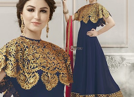 Stylish Blue Georgette Floor Length Contemporary Style Salwar Kameez By Designersandyou
