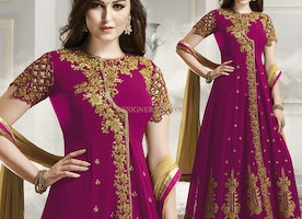 Fascinating Magenta Georgette Party Wear Anarkali By Designersandyou