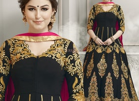Captivating Black Georgette Indian Anarkali Salwar Kameez By Designersandyou