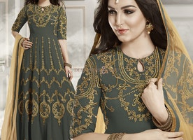 Lovable Grey Georgette Churidar Anarkali Kameez By Designersandyou