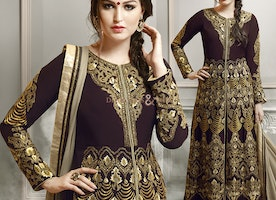 Smart Brown Georgette Latest Party Wear Fashion Salwar Kameez By Designersandyou