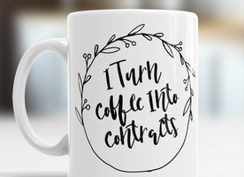 Real Estate Agent Gift, Funny Coffee Mug I Turn Coffee Into Contracts