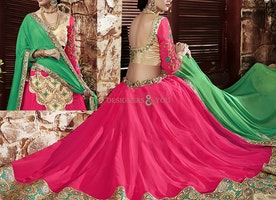 Graceful Gold N Pink Brocade N Georgette Lehenga Choli By Designersandyou