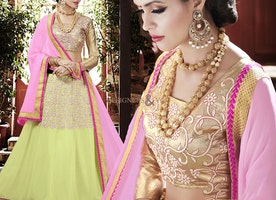 Ineffable Gold Brocade Choli N Green Georgette Lehenga By Designersandyou