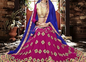 Engaging Gold Georgette Blouse N Pink Lehenga By Designersandyou