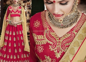 Beautiful Peach Dhupian Blouse N Georgette Lehenga By Designersandyou