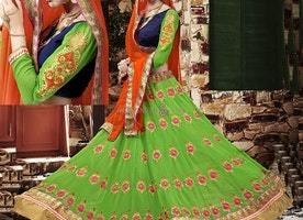 Fashionable Blue N Green Dhupian Lehenga Choli By Designersandyou