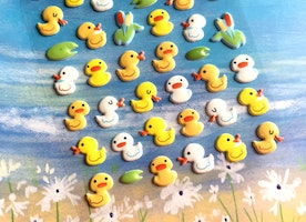 yellow duck sticker white duck five little ducks cute duckling baby ducks puffy sticker farm bird little bird swimming fun deco sticker