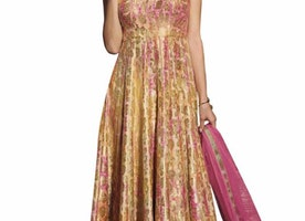 Multi colour suit embellished in rose motif zari embroidery