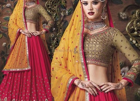 Contemporary Style Beige Art Silk N Georgette Choli And Pink Chiffon Lehenga By Designersandyou