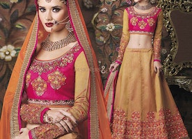 Enchanting Pink Art Silk Blouse N Lehenga For Ceremonial Functions By Designersandyou