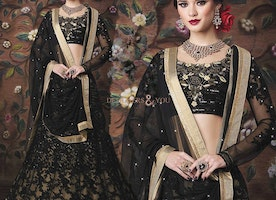 Eye-Catching Black Georgette Blouse Paired With Matching Net Lehenga By Designersandyou