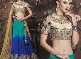 Beautiful Golden Blouse With Dual Colored Lehenga For Wedding By Designersandyou