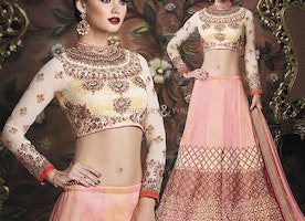Lovely Cream Art Silk Choli With Peach N Pink Lahenga For Reception By Designersandyou