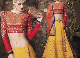 Mesmerizing Red Art Silk Choli With Yellow Lehenga For Engagement By Designersandyou