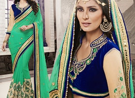 Blue Net N Velvet Jacket Green Georgette N Net Sari By Designersandyou