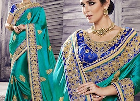Blue Art Silk Jacket Green Georgette Party Wear Sari By Designersandyou