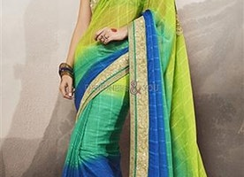 Blue Art Silk Jacket Green N Blue Chiffon Sari By Designersandyou