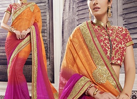Red Art Silk Blouse Orange N Pink Chiffon Saree By Designersandyou