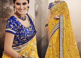 Blue Art Silk Jacket Yellow Georgette Sari By Designersandyou