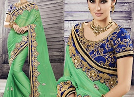 Blue Art Silk Jacket Green Chiffon Latest Fashion Sari By Designersandyou