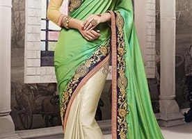 Blue Art Silk Blouse Green N Off White Chiffon Saree By Designersandyou