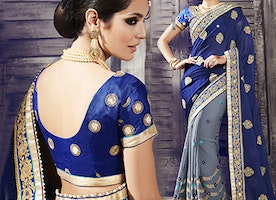 Blue Art Silk Blouse Blue N Grey Georgette Saree By Designersandyou