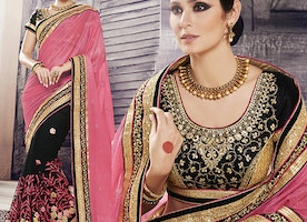 Black Art Silk Blouse Peach Georgette N Net Saree By Designersandyou