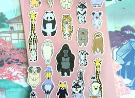 wild animal safari sticker funny wildlife animal zoo rare animal sticker cartoon animal world stand up Chimpanzee hippo lion red panda icon