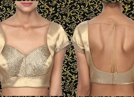Gold Blouse Enhanced in Kundan Embroidery