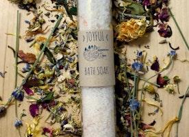 Joyful organic bath salts, bath soak, foot soak. relaxing, uplifting, elevates mind, body, & spirit. free healing stone