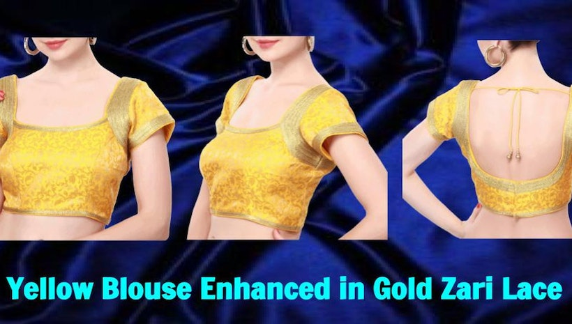 Yellow Blouse Enhanced in Gold Zari Lace