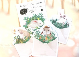 cute rabbit sticky note forest bunny green plant sticky memo flower wreath crown rabbit paper gift fancy rabbit fairy tale animal memo pad