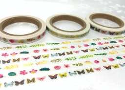3 rolls butterfly green leaf Washi tapes 10M x 5mm gardening flower masking tape gardening planner sticker tape thin tape cute tape set