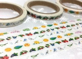 3 rolls little bird berry fruit Washi tape 10M x 5mm yellow flower green leaf masking tape gardening planner sticker tape thin tape set gift
